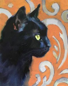 Daily Paintworks - - Original Fine Art for Sale - © Katya Minkina Black Cat Drawing, Black Cat Painting, Black Cat Art, Black Cats, Illustrations, Illustration Art, Oil Painting Texture, Cat Sketch, Pastel Art