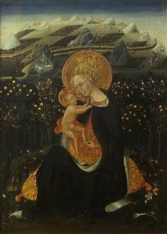Madonna of Humility by Giovanni di Paolo is an example of the checkerboard landscape effect used by many Trencento artists.