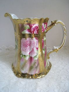 """Nippon Stunning Hand Painted Roses with Heavy Gold Gilt and Stones 8"""" Pitcher 