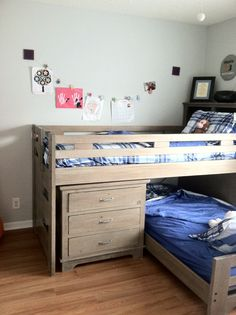 Boys' side of the room--Bunk beds, Rooms To Go Kids; sports themed art line, Target