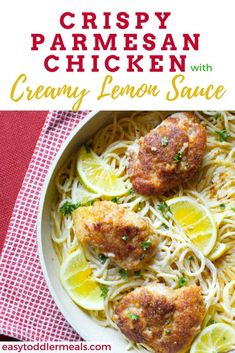 This Crispy Parmesan Chicken is an easy weeknight fix for dinner that the whole family can enjoy - it's one of my favorite 30-minute recipes for white sauce pasta. My toddler loves it - I mean it's pretty much a healthy chicken nugget, right? Add spiralized zucchini to the noodles to add some veggies or put some steamed veggies on the side to make it a complete meal #easytoddlermeals #dinner #chicken