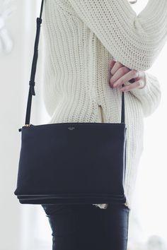 Chic Style - cosy ivory sweater & Celine handbag