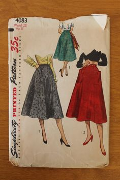 Vintage 50s women's skirt Simplicity sewing pattern