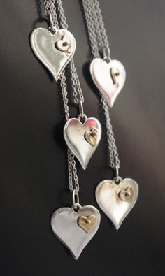 Sterling Silver and Bronze Heart Necklace