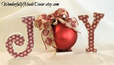 Christmas Decor . JOY Letters . Joy Sign . by WonderfullyMadeDecor