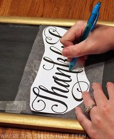 This is such a neat trick for getting beautiful hand lettering designs on chalkboards!  Who knew it was so simple!