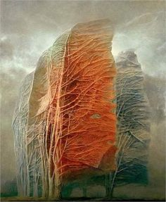 Untitled - by Zdzisław Beksiński. Style: surrealism / symbolic painting