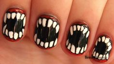 Halloween Fangs Nail Art for Short Nails -- Vampire/Werewolf Halloween Nails