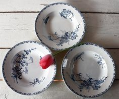"""Set of 3 very OLD and beautiful French Sarreguemines Soup Plates - Pattern """"Carmen"""" SHABBY Chic. $60.00, via Etsy."""