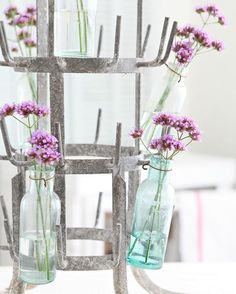Close up of the beautiful vintage French zinc bottle rack I just listed in the online shop. I hung some of my little French bottles from the rack and filled them with verbena from my garden. It is also fun to hang small herb bundles to dry on these old bottle racks. {shop link in profile}