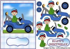Little Blue Tractor Card Front and Decoupage