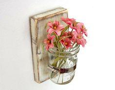 Flower wall vase Cottage Decor wood Vintage White