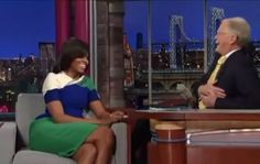 """Appearing on """"Late Show"""" with David Letterman in 2013, First Lady Michelle Obama also told the story of how a woman once asked her for help getting something off a shelf. It's the same story she told in a recent interview with People magazine, in which she seemingly suggested..."""