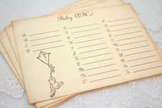 Baby ABC's Baby Shower Game Activity Cards Fill in the Blanks Vintage Winnie the Pooh