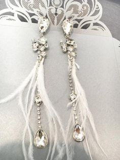 Bohemian Earrings with Crystals & Feathers