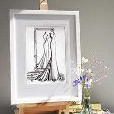 Give a fab anniversary gift to a bride who LOVED her wedding dress. 2-4 weeks lead time. Just need photos to create. Wedding Dress Illustrations, Fashion Illustration Dresses, Bride Gifts, Wedding Gifts, Custom Wedding Dress, Wedding Dresses, 1st Anniversary Gifts, Custom Mirrors, Special Birthday
