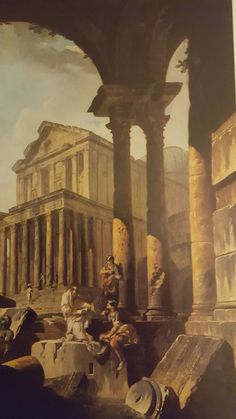 A CAPRICE OF A CLASSICAL TEMPLE SEEN THROUGH A LOGGIA, WITH A PHILOSOPHER DISPUTING WITH A SOLDIER AMID ARCHITECTURAL FRAGMENTS IN THE FOREGROUND. oil on canvas. 84,5 × 64,5 cm. Christie's. London. Important Old Master Pictures. 24/ 05/ 1991. Lot 84. Estimate: 70.000/ 100.000 £.
