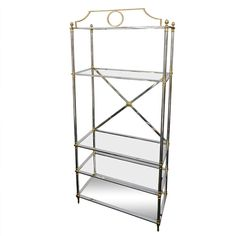 """84"""" Tall Neoclassical Style Chrome & Brass Etagere 
