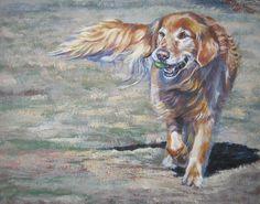 Golden Retriever dog art CANVAS print of LA Shepard painting Golden Retriever Kunst, Dogs Golden Retriever, Retriever Dog, Golden Retrievers, Canvas Art Prints, Fine Art Prints, Time Painting, Dog Portraits, Dog Art