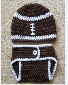 Just in time for football season. Also available in brown/pink with flower for girl! www.ajscrochets.com