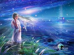 Andromeda: Every morning when Eos, the goddess of dawn with the rosy fingers, drops stars and dews on the silence, Princess Andromeda is cleansing herself alone in the lake.