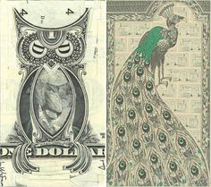 These collages made by Brooklyn artist Mark Wagner are made from one dollar bills. Amazing.