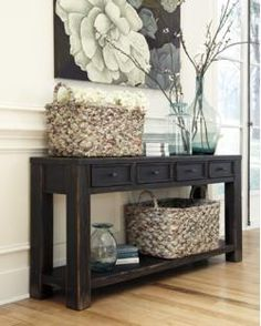 gavelston distressed black sofa table with 4 drawers u0026 shelf by signature design by ashley furniture