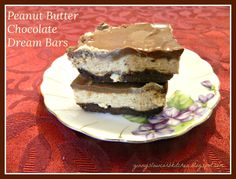 PEANUT BUTTER CHOCOLATE DREAM BARS, LOW CARB, NO BAKE, GLUTEN FREE