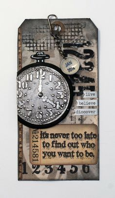 12 Tags of 2014: January. Clock image made using 'Pocket Watches and Strampunk' embossing folder. Base die-cut from heavy cardstock with simple Sizzix circle dies.