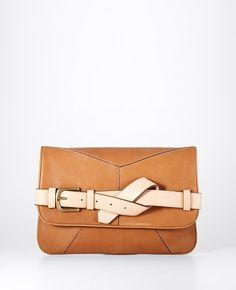 ANN TAYLOR Leather Strap Clutch
