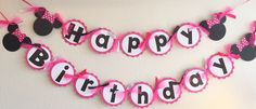 PINK White Polka Dot Minnie Mouse Happy Birthday Banner - Super Capes and Tutus, Birthday Party Banners, [product_tags], Super Capes and Tutus Minnie Mouse Birthday Theme, Minnie Mouse Pink, Minnie Mouse Party, Happy Birthday Banners, 3rd Birthday Parties, Birthday Fun, Birthday Banner Ideas, Birthday Cake, Decoration Minnie