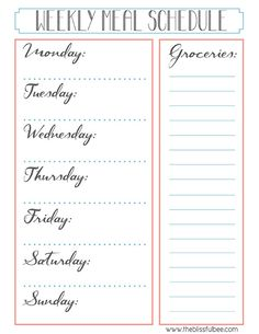 FREE Printable  |  Weekly Meal Schedule and Grocery List  |  The Blissful Bee