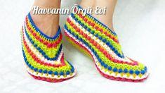 Rengarenk Sıralı Dişler Patik Modeli / DIY Knitting Socks, Knit Socks, Crochet Slippers, Mittens, Ravelry, Valentines, Shoes, Beadwork, Fashion