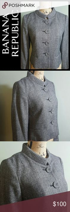Banana Republic Wool Blend Blazer NEW Banana Republic Signature Blazer in Classic Grey Blend of Wool Spandex! Long Sleeves with Chic Collar Style! Front Buttons Closure Opens to Fully Lined Interior! Perfect Pair with Any Skirt or Slacks for that Polished Look! Approx Length at The Back is 20 Inches from Shoulder Down! Sleeves Length about 23 inches, New without tag! Banana Republic Jackets & Coats Blazers
