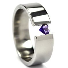 7 mm Titanium ring featuring a beautiful heart shaped gemstone, sold on Renaissance Jewelry Company.