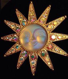 Vintage Kirk's Folly Aurora Boreialis Sun Face Brooch Pin Pendant RARE | eBay