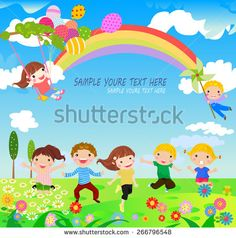 A vector illustration of children having fun playing outdoor during Spring season