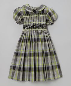 Take a look at this Green Plaid Smocked Holiday Dress - Infant, Toddler & Girls by Emily Lacey on #zulily today!