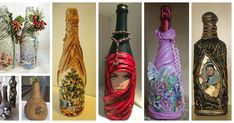 Aprende cómo decorar botellas de vidrio con medias o telas de todo tipo Wine Bottle Crafts, Glass Art, Decoupage, Diy And Crafts, Projects To Try, Lily, Holiday Decor, Home Decor, Jewelry Ideas