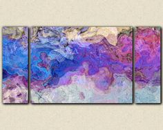 "Triptych abstract art canvas print, 30x60 to 40x78 stretched canvas giclee, in purple and blue, ""Lavender Blue"""