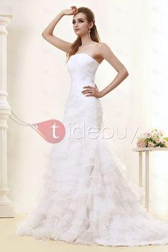 トランペット/マーメイドストラップレス床までの長さチャペルティアードウェディングドレス