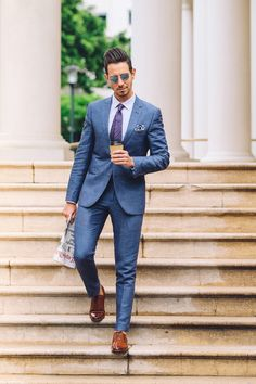 #fashion #fashionblogger #fashionista #summerstyle #summerfashion #mensfashion #mensstyle #streetstyle #streetphotography #blue #bluesuits #dapper #fancy Mens Fashion Blazer, Men Fashion, Suit Combinations, Gentleman Shoes, Summer Suits, Funky Fashion, Mens Clothing Styles, Wedding Suits, Mens Suits