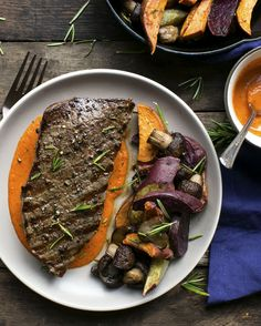 Steak with purple sweet potato and roasted pepper sauce #paleo #glutenfree #dairyfree #soyfree
