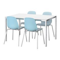 TORSBY / LEIFARNE Table and 4 chairs, glass white, light blue