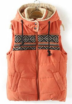 "Style: Ethnic   Material: Cotton  Color: Blue / Orange  Size: M / L   M:Bust:92CM(36.22"")  Length:58CM(22.83"")   L:Bust:96CM(37.80"")  Length:59CM(23.23"")   The adorable hooded vest is a must have,and features drawstrings,ethnic patterns in contrast colors on the top,slanted pockets,ful..."