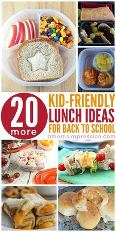 Get 20 Kid-Friendly Lunches perfect for lunches. These recipes are fun and will please picky eaters. Simple recipes that hit the lunchbox quick.