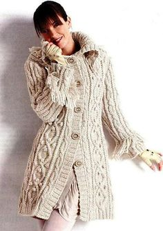 knitted coat with cables - free pattern Knitted Coat, Wool Coat, Vintage Knitting, Hand Knitting, Free Aran Knitting Patterns, Knitting Needles, Long Cardigan, Knit Cardigan, Cardigans For Women