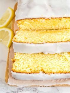 This moist Lemon Cake Recipe is fluffy, tangy and so easy to make from scratch! Every bite of this supremely moist pound cake is bursting with lemon flavor. If you like the Starbucks Lemon Loaf then you'll love this homemade lemon pound cake! Lemon Dessert Recipes, Homemade Cake Recipes, Baking Recipes, Delicious Desserts, Lemon Recipes, Baking Ideas, Breakfast Recipes, Lemon Loaf Cake, Pound Cake