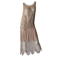 1920s Art Deco Lace made from Silver and Beads | From a collection of rare vintage evening dresses at https://www.1stdibs.com/fashion/clothing/evening-dresses/