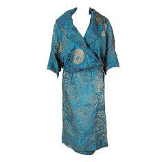 1920's Vintage Antique Turquoise-Blue & Metallic Gold-Lame Deco Evening Coat NOW LISTED